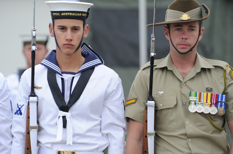 Naval and army officers representing defence projects